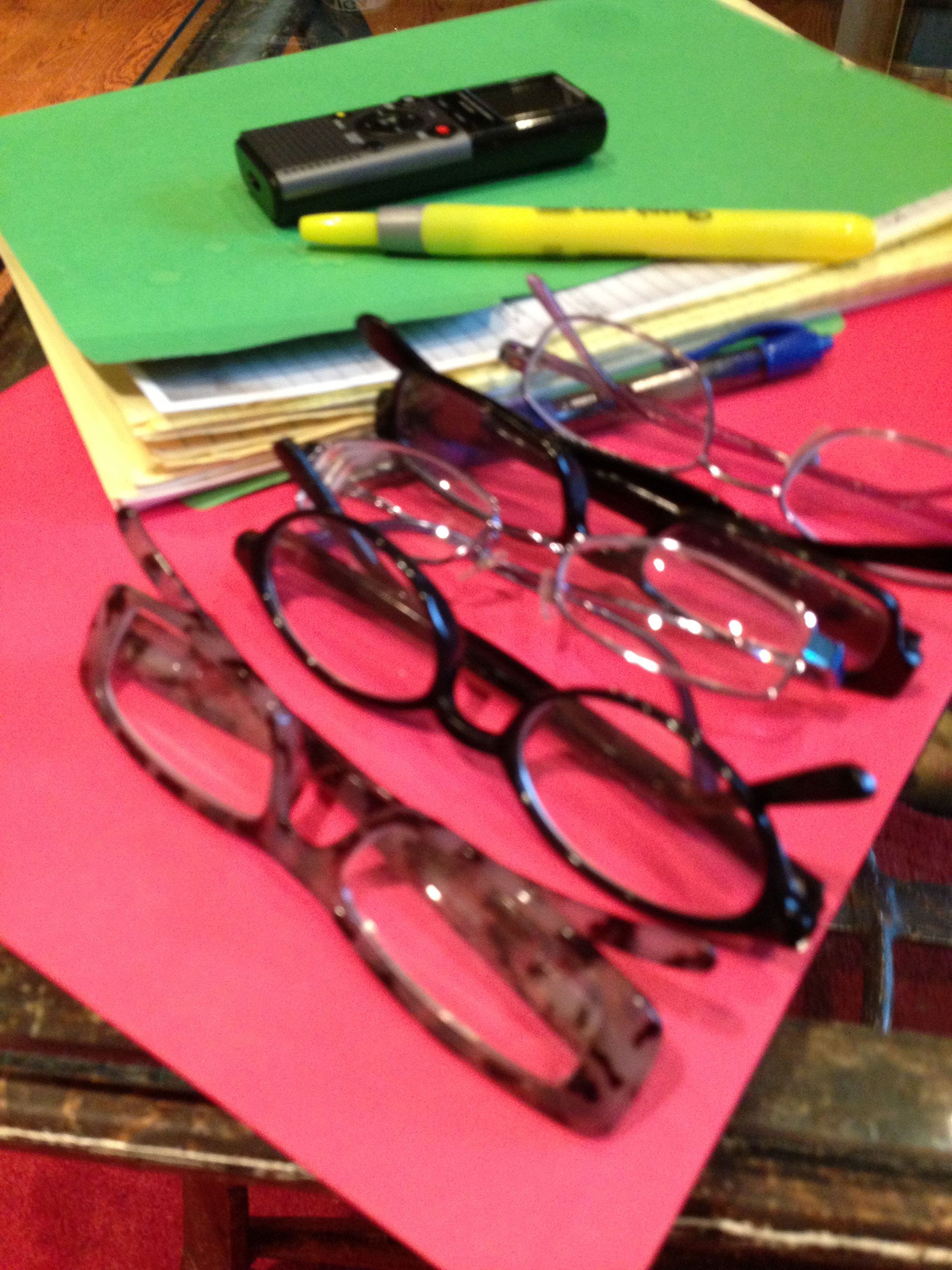 All the reading glasses I could find in the house. Couldn't find my favorite pair of course. Probably on my head.