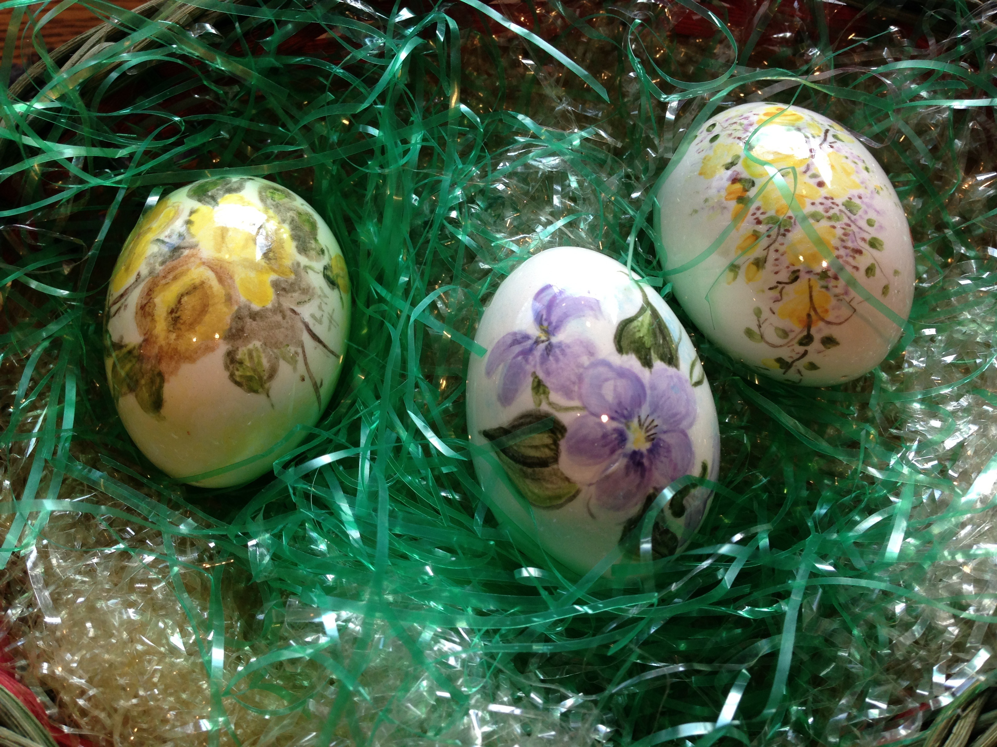 Hand-painted treasures from my mother-in-law.  NOT to be hidden by the bunny.