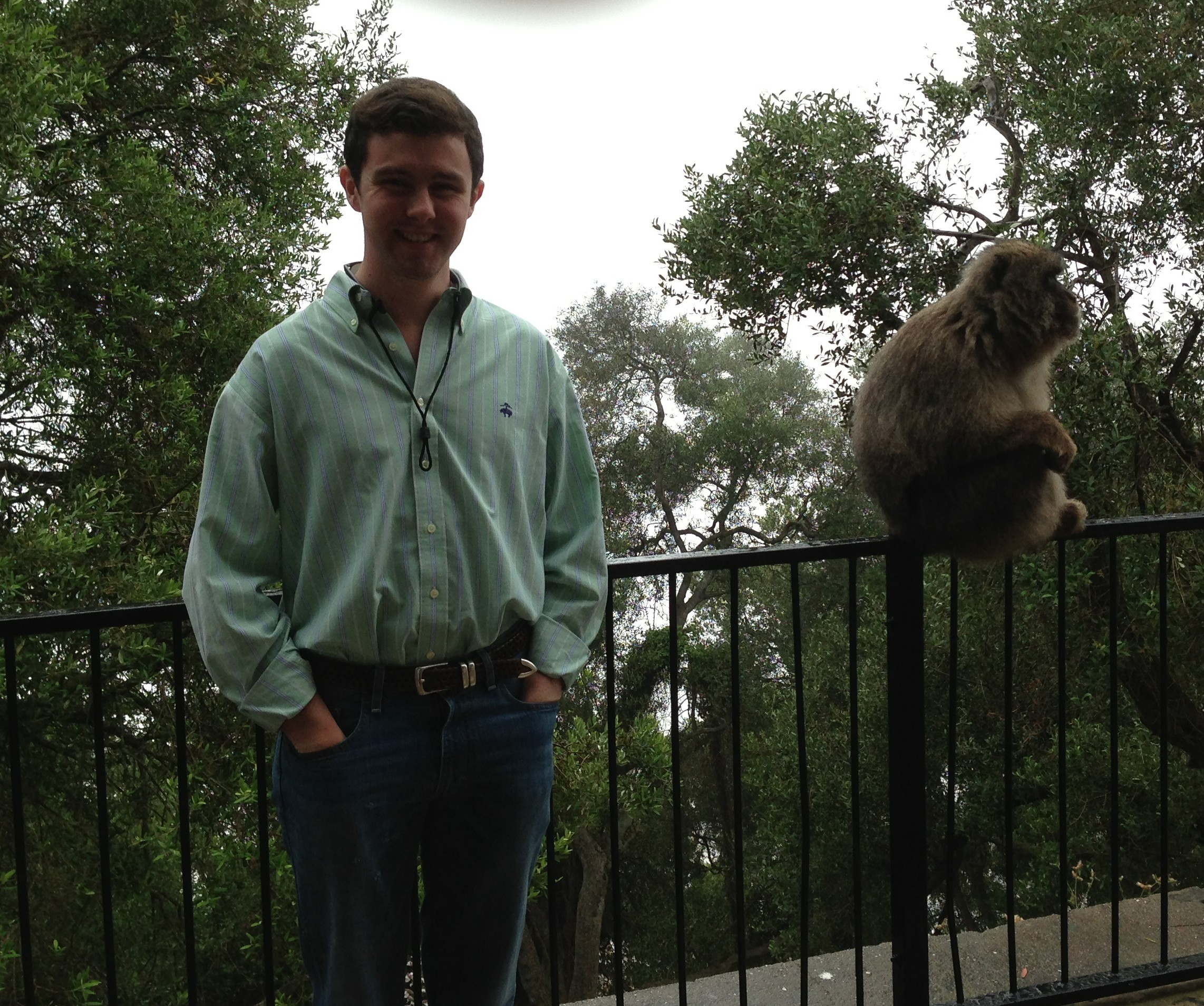 Rob and a Barbary Ape - Rob on the left