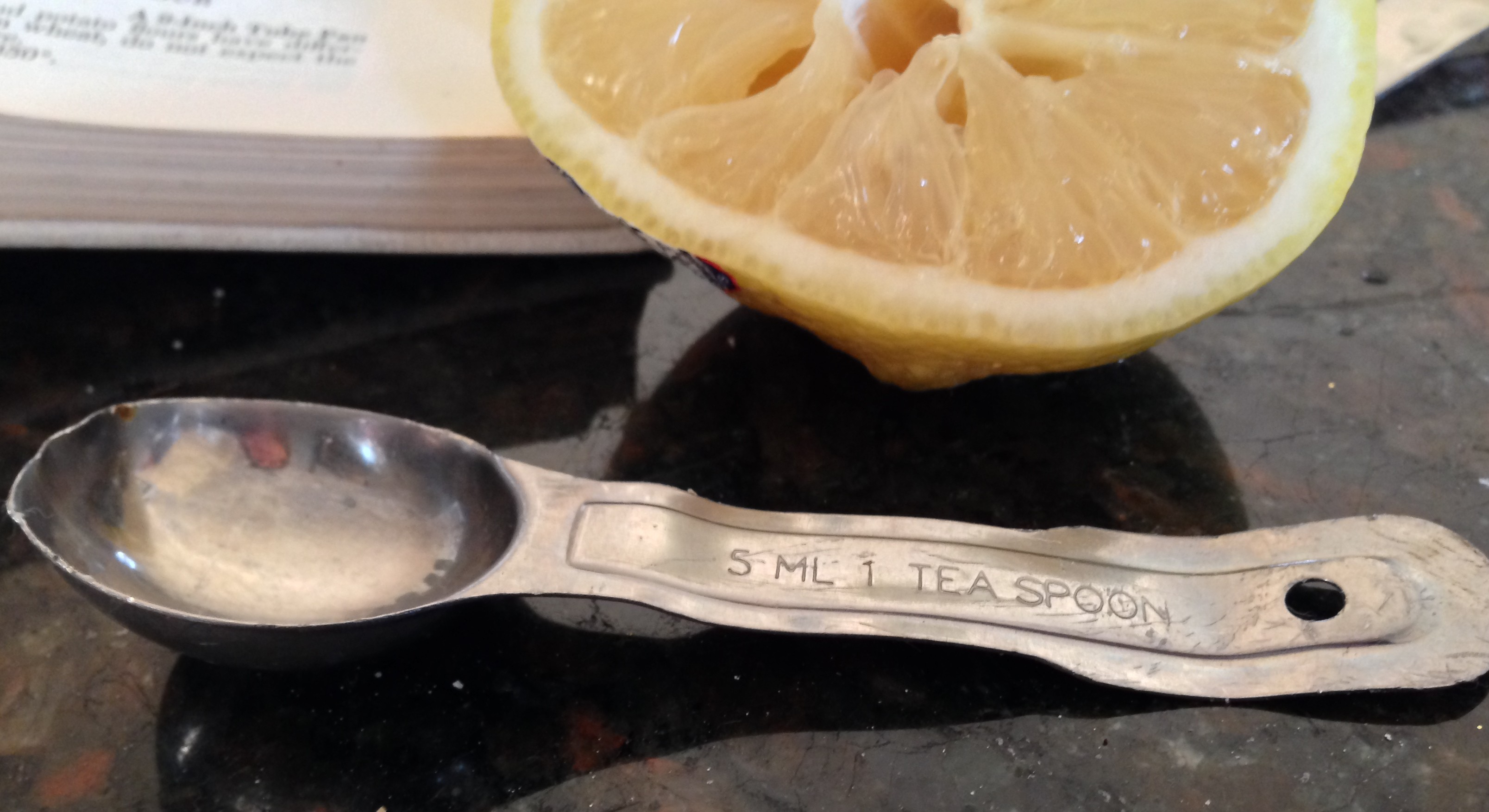 "One of my proud but tired teaspoons.  Signs of a ""real"" home cook."