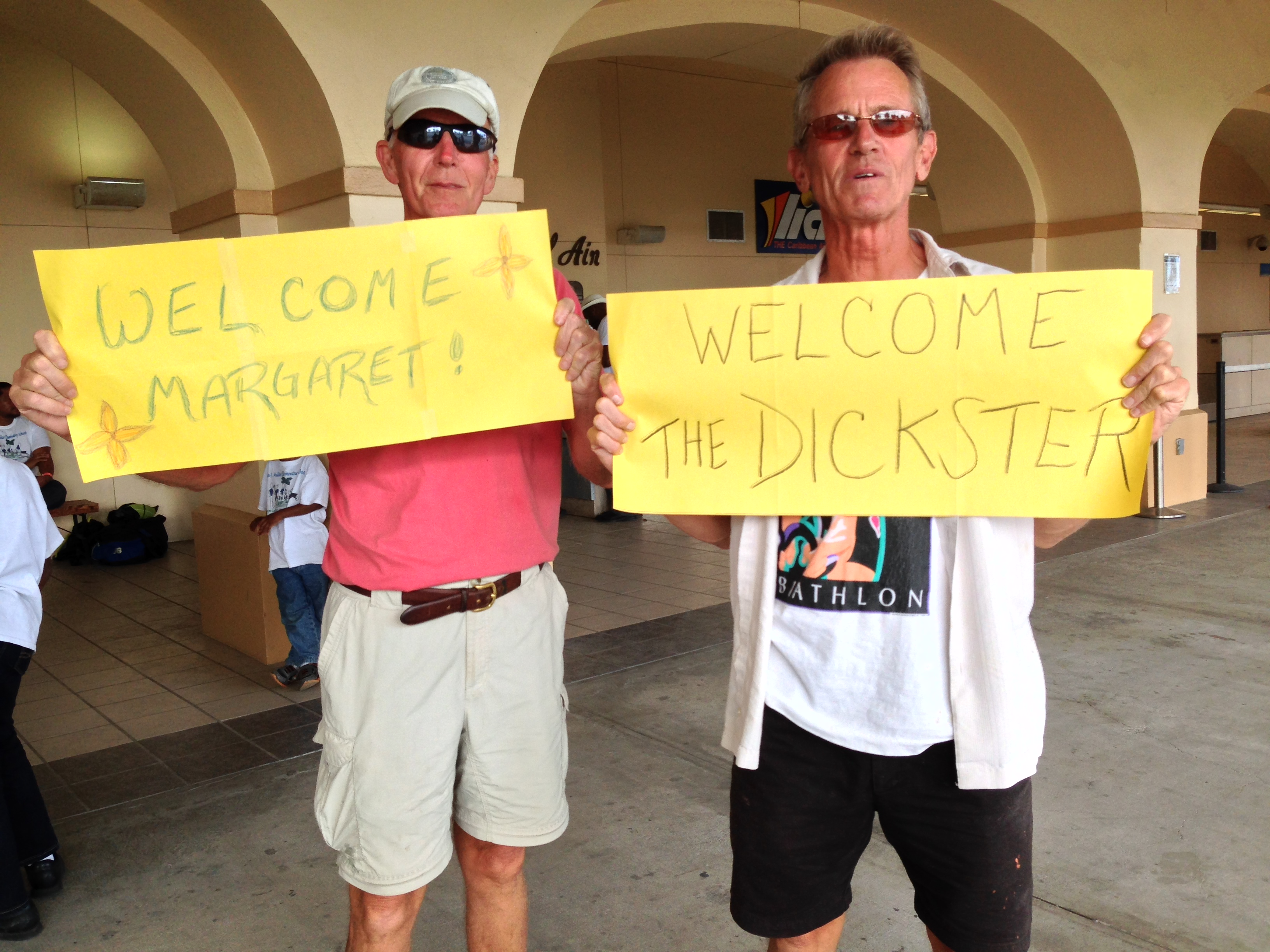 Our airport greeting. And teasing about my nickname for my husband from the very beginning!