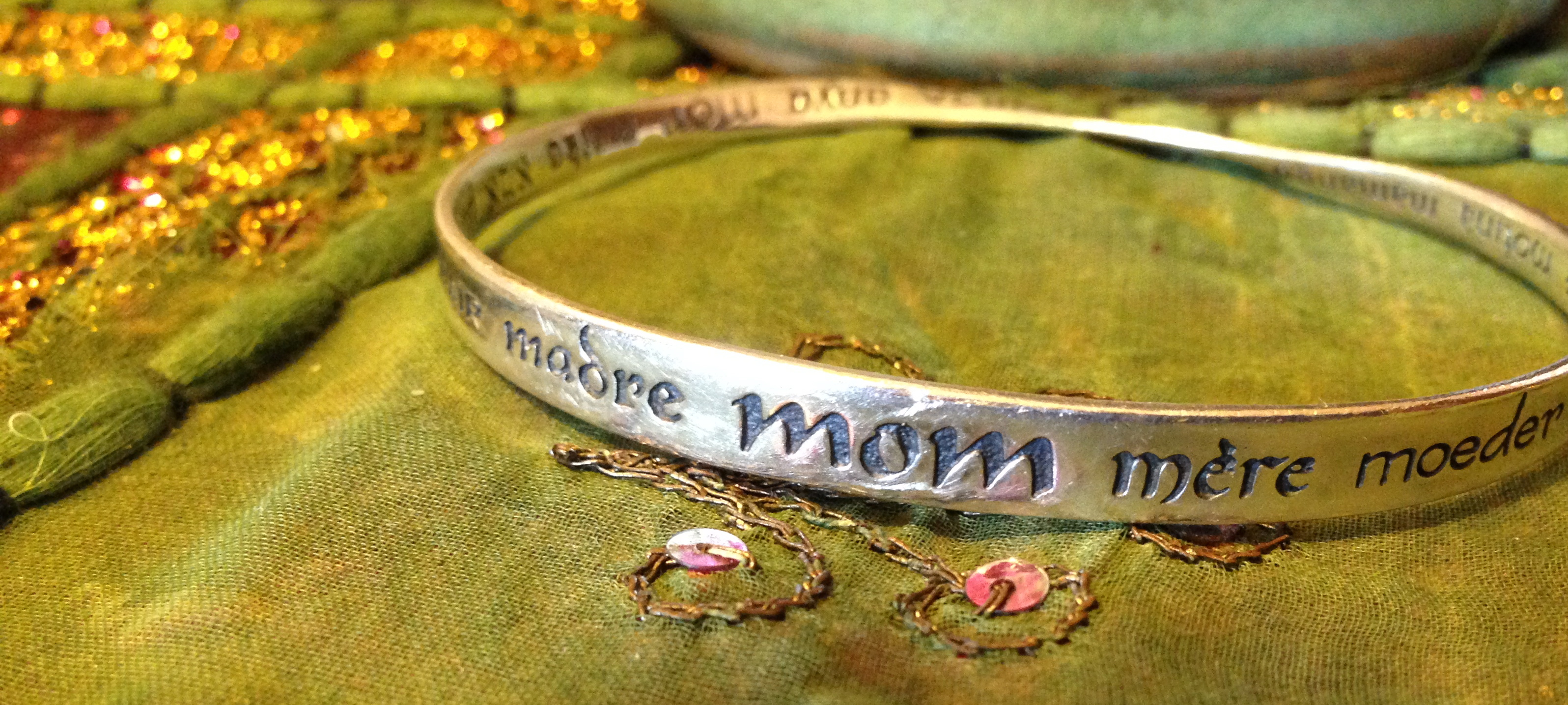 "My ""Mom"" bracelet.  A great gift.  From red envelope.com"