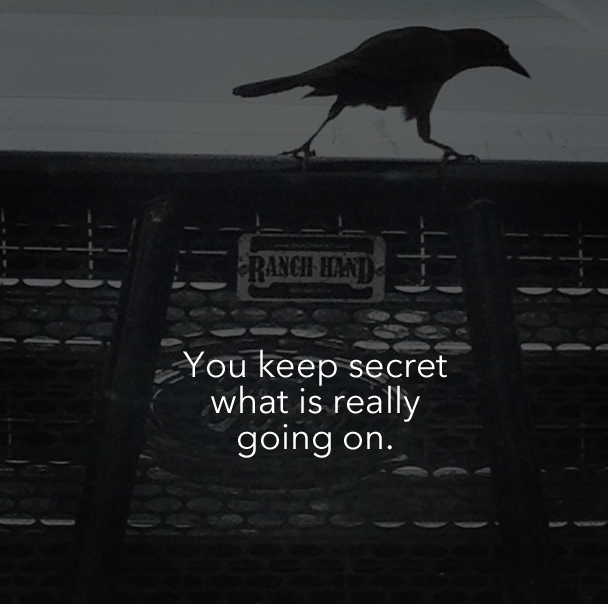 You keep secret what is really going on