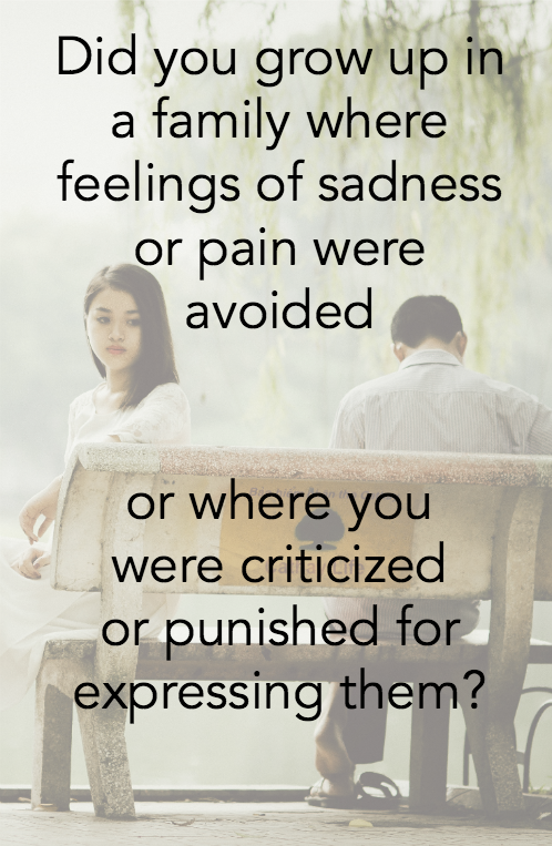 Did you grow up in a family where feelings of sadness or pain were avoided, or where you were criticized or punished for expressing them